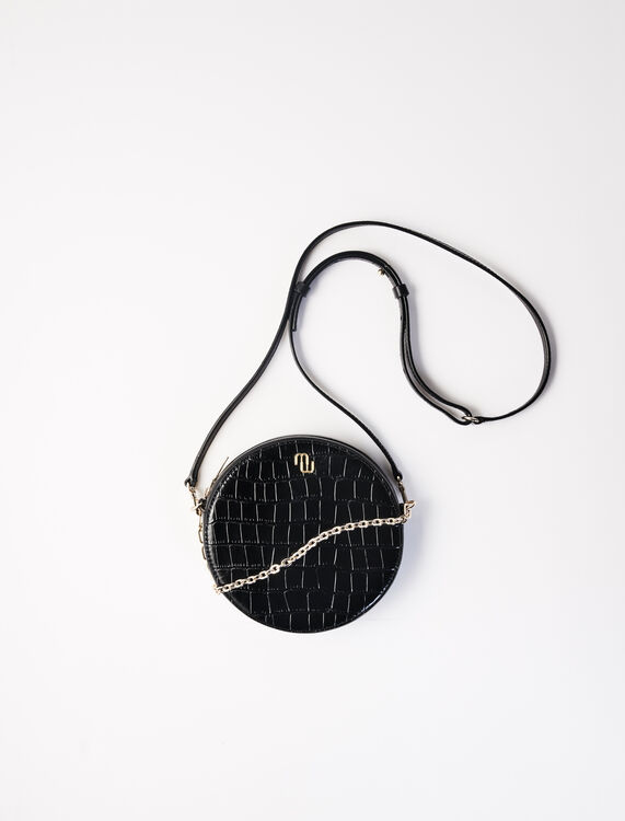 Round crocodile-effect leather bag -  - MAJE