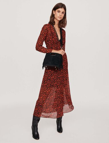 Printed-muslin scarf dress : Dresses color Red