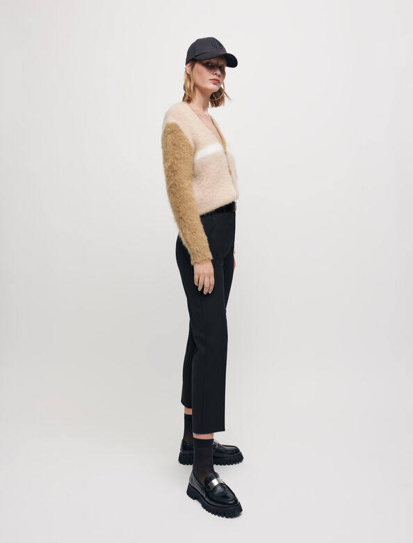 Brushed mohair cardigan : Sweaters & Cardigans color Camel