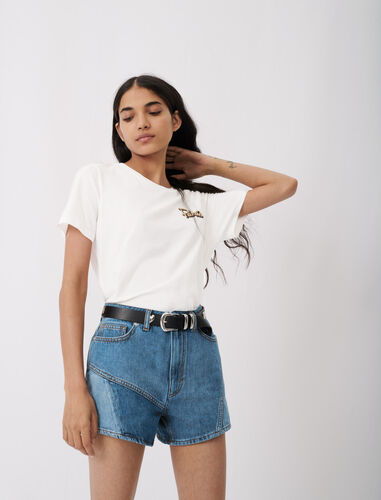 Embroidered short-sleeved T-shirt : T-Shirts color White
