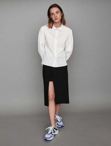 Jeweled button poplin shirt : Shirts color White