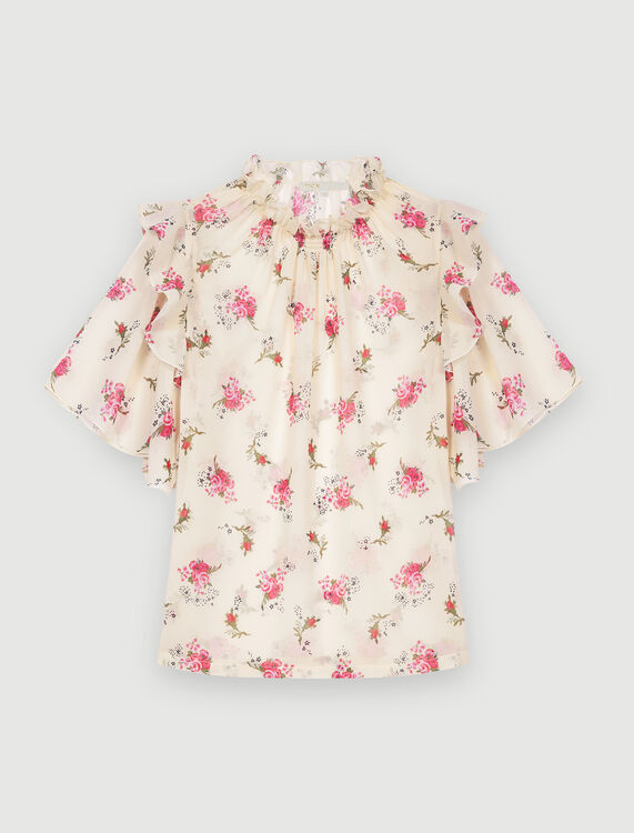 Printed muslin top : Tops color Grunge flowers white pink