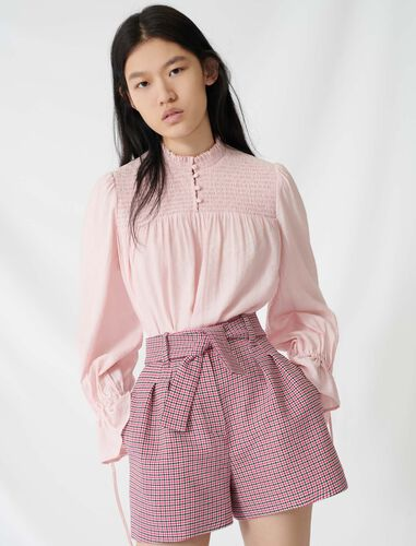 Belted, checked shorts : Shorts color Fuchsia