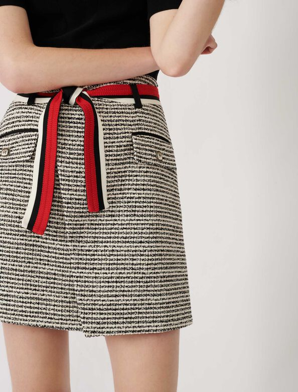 Tweed-style wrap skirt : Skirts color Black / White