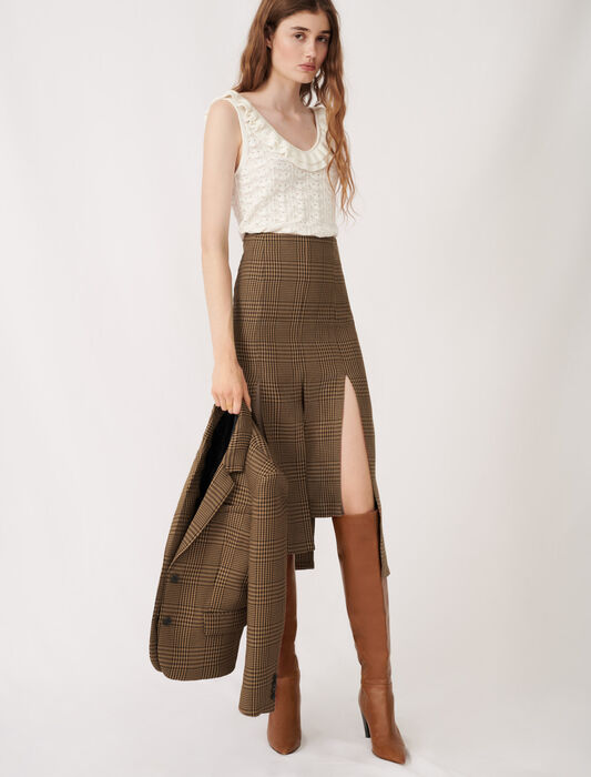 Asymmetric skirt with flaps and checks : Skirts color Brown