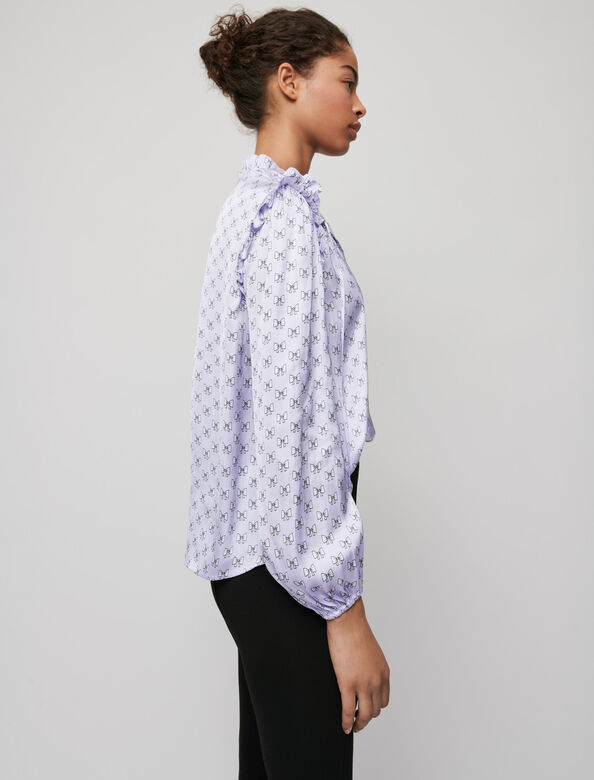 Flowing top with bow print : Tops color Parma Violet