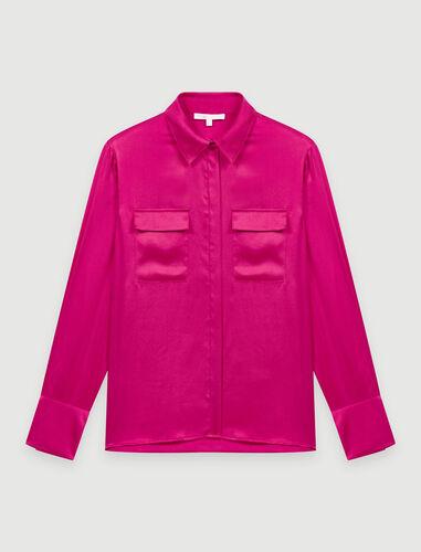 Fuchsia silk satin shirt : Shirts color Pink