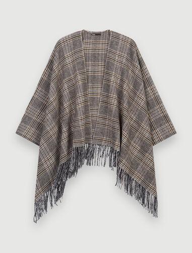 融合格纹斗篷 : Coats & Jackets color Brown