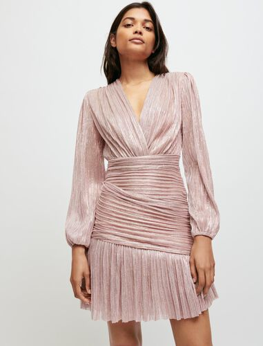 Draped lurex dress : Dresses color Pink