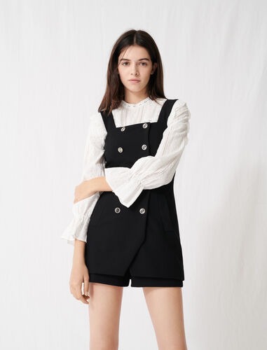 Buttoned playsuit with straps : Jumpshort & Jumpsuits color Black