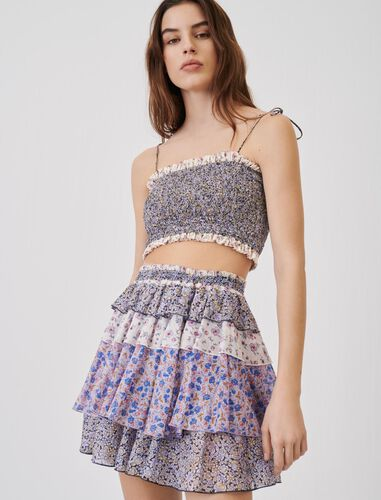 Printed cotton voile skirt with ruffles : Skirts color Blue