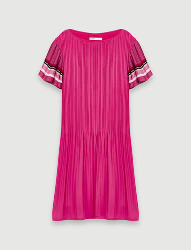 Pleated dress with sporty stripes : Dresses color Fuchsia