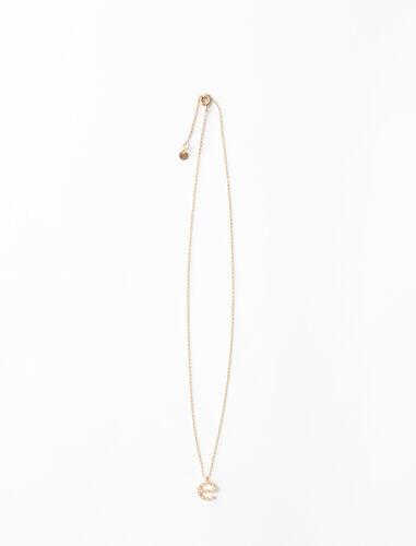 Rhinestone E necklace : Jewelry color Gold