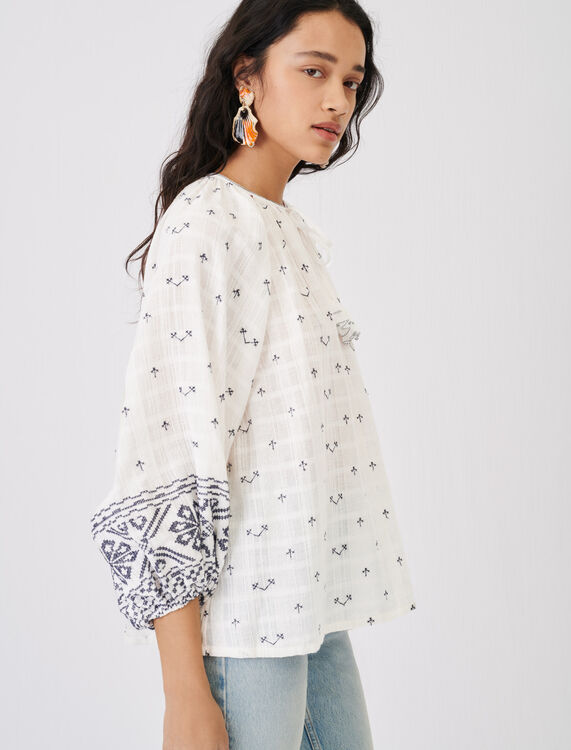 Fully embroidery blouse with low neck - Tops - MAJE