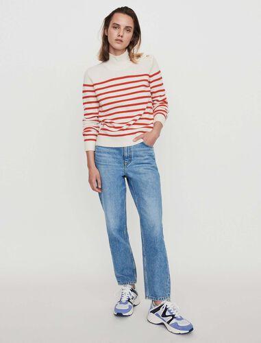 Sailor-style cashmere sweater : Sweaters color Ecru