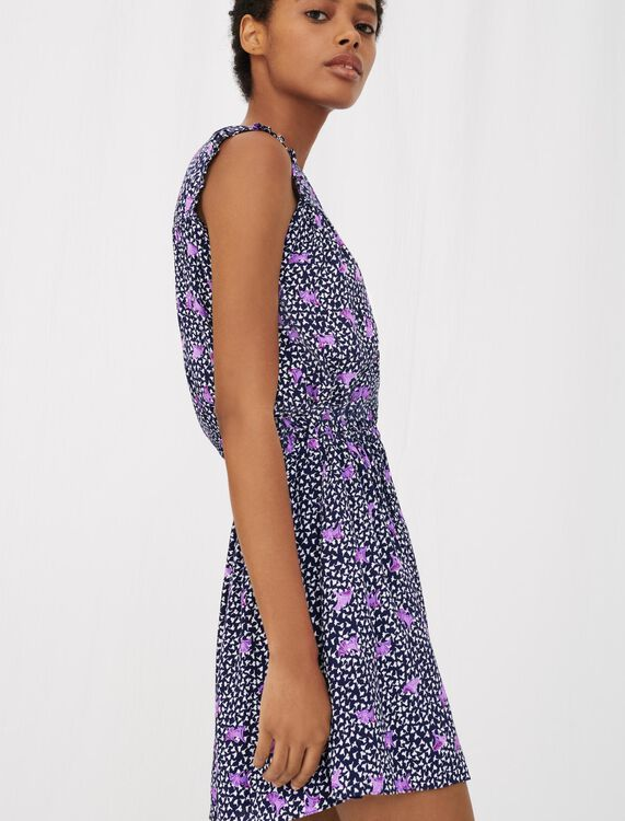Printed crêpe dress with smocking - View All - MAJE