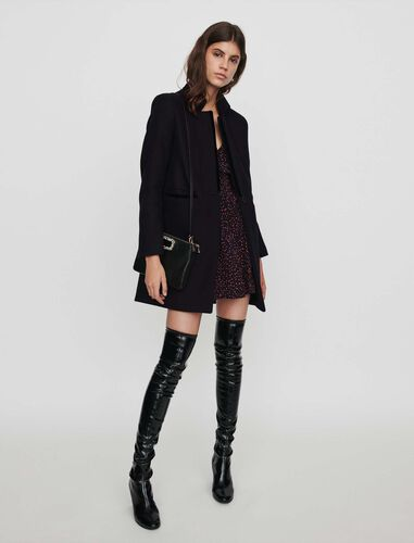 Wool and velvet coat : Overcoat color Black