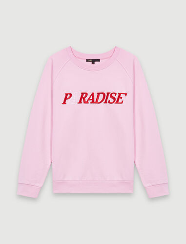 Soft sweatshirt with Paradise embroidery : Tops color Pink