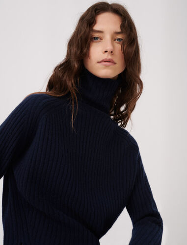 High neck cashmere sweater : Sweaters color Night Blue