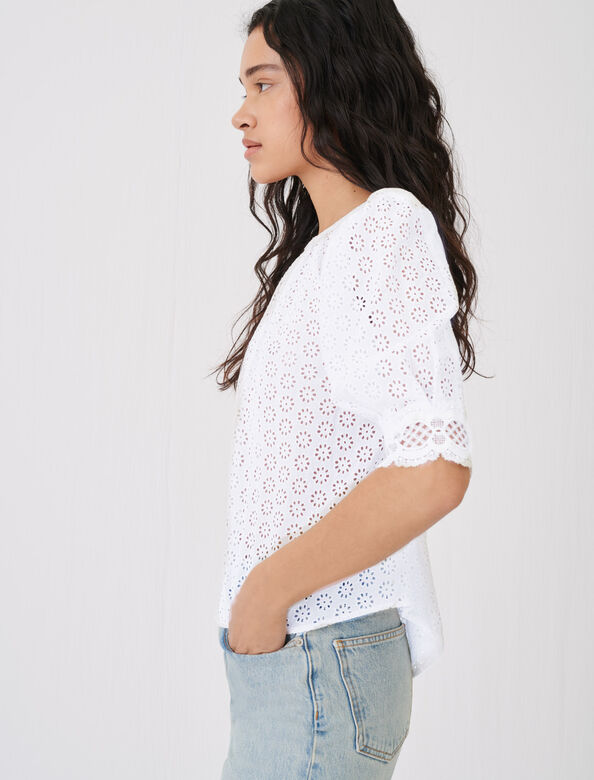 Guipure top with an open back : Tops & T-shirts color Ecru