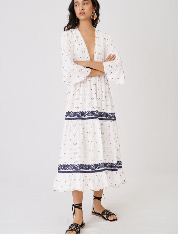 Maxi dress with all-over embroidery - Dresses - MAJE