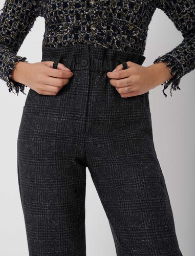 Checked trousers in recycled wool : Trousers color Blue