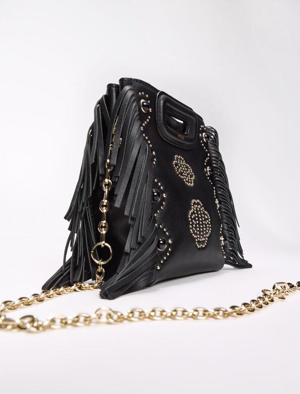 Leather mini M bag with clover studs : M Bag color Black