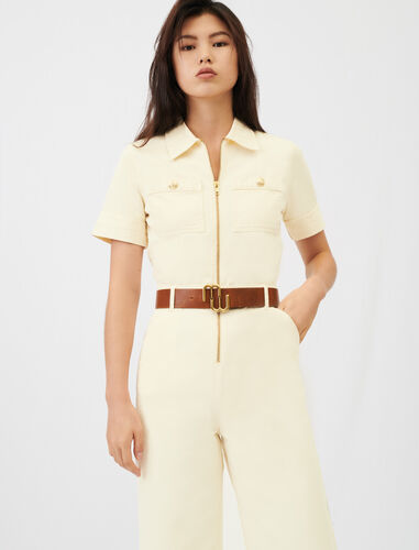 Cotton canvas jumpsuit : View All color Ecru