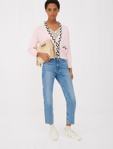 Small, cropped braiding & bead cardigan : Cardigans color Pale Pink