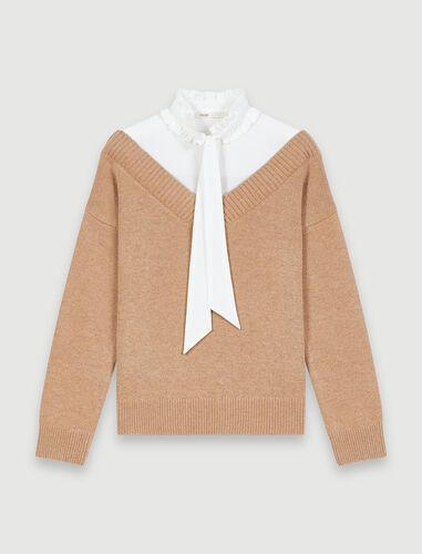 Mixed fabric trompe l'oeil sweater - Sweaters - MAJE