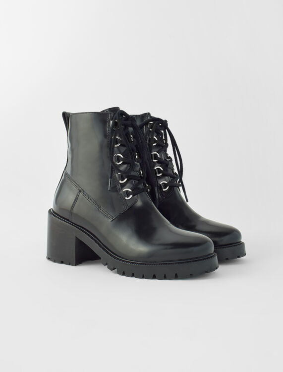 Black leather heeled boots : Boots & Flat shoes color Black