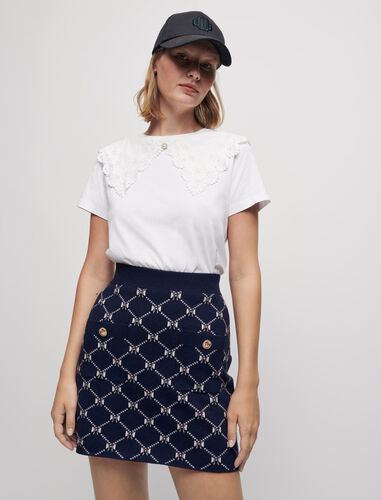 Jacquard knit skirt with bows : Skirts & Shorts color Navy