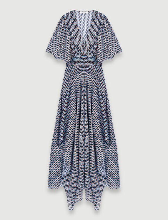 Lurex jacquard print scarf dress : Dresses color Blue