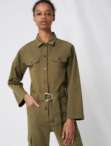 Combat-style workwear jumpsuit : Jumpshort & Jumpsuits color Khaki