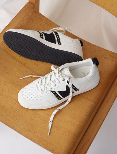Black and white leather sneakers : Sneakers color White / Black