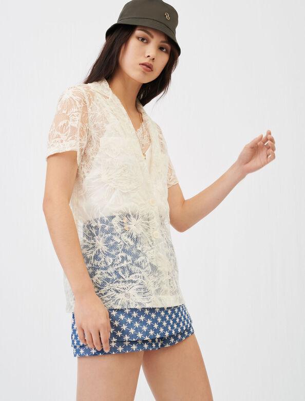 Lace tie shirt : Shirts color Ecru