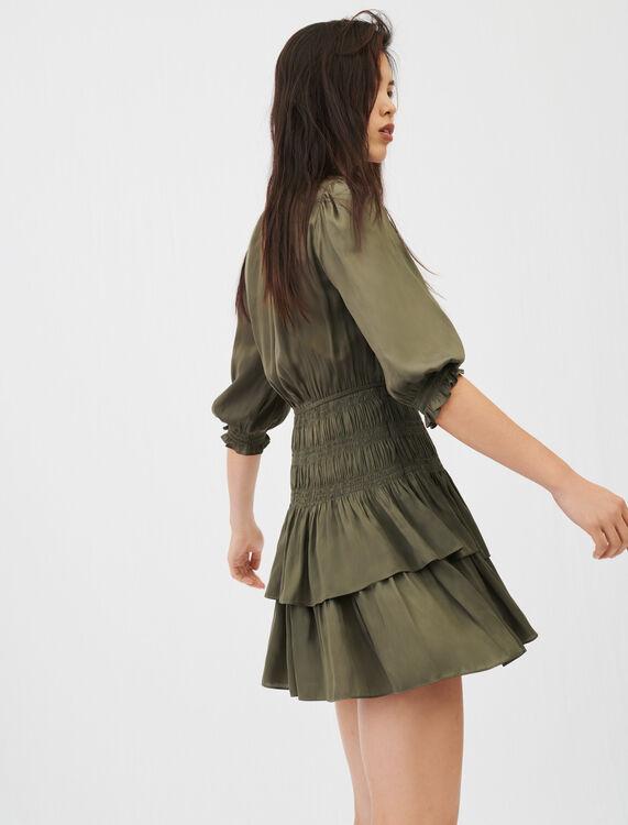 Satin dress with smocking and ruffles - Dresses - MAJE