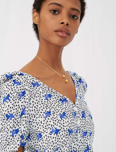 Printed crêpe top with shirring : Tops color White Purple
