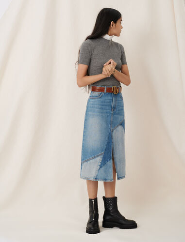 Midi denim skirt with patches and slit : Skirts color Blue