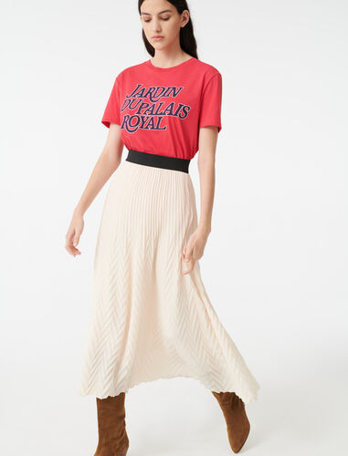 Geometric pleated skirt : Valentine Guide color Nude
