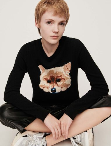 Cashmere saweater with dog head jacquard : Sweaters color Black