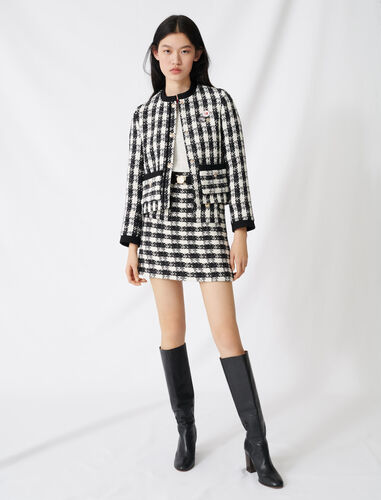 Tweed-style cropped jacket : Coats & Jackets color Black / White