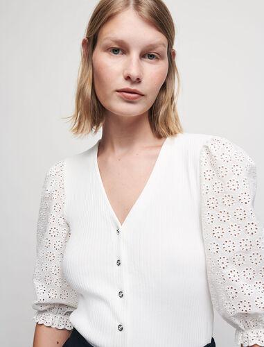 V领罗纹针织上衣 : 针织 顏色 白色/WHITE