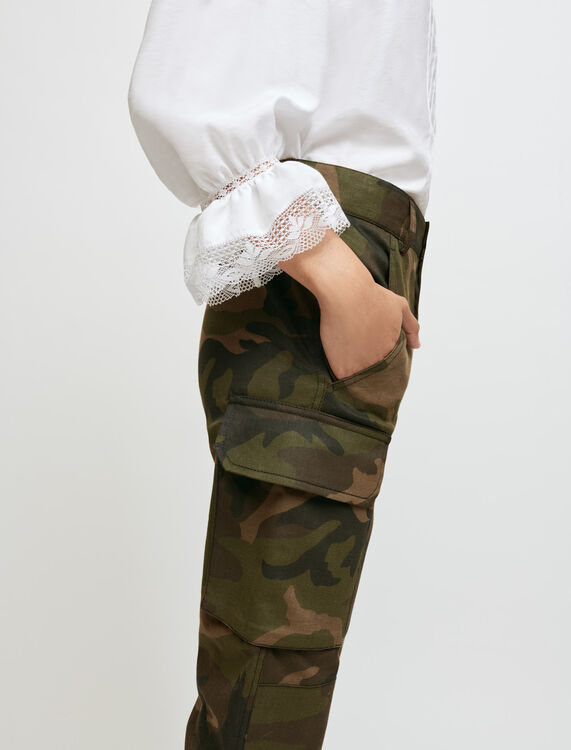Khaki camouflage-style trousers - Trousers & Jeans - MAJE