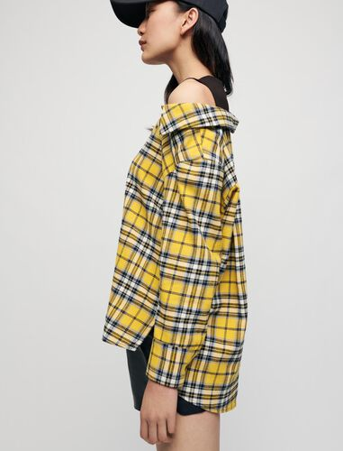 Trompe l'oeil checked shirt and T-shirt : Shirts color Yellow
