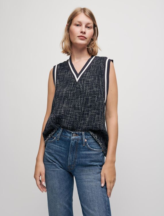 Tweed-style top with contrasting bands - Tops - MAJE