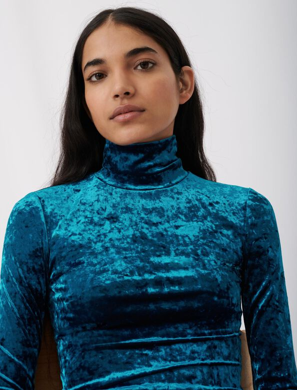 Lightweight crushed velvet polo-neck : Tops color Blue