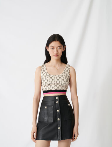 Sporty crop top with all-over monogram : Tops color Ecru