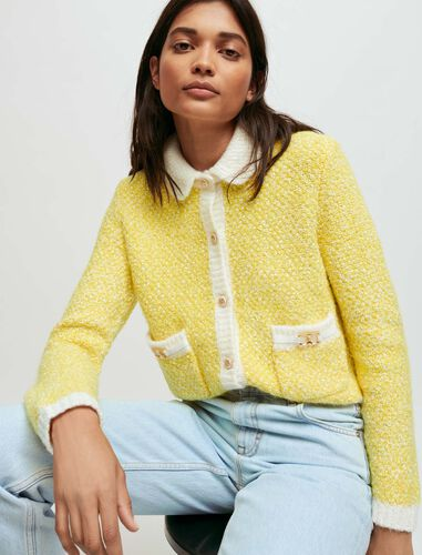 Fancy knit cardigan with horsebit detail : Cardigans color Yellow