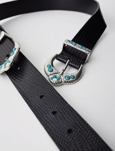 蜥蜴纹双扣皮带 : null 顏色 黑色/BLACK